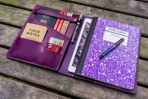 Leather Leuchtturm1917 B5 Notebook & iPad Air/Pro Cover - Purple-Galen Leather