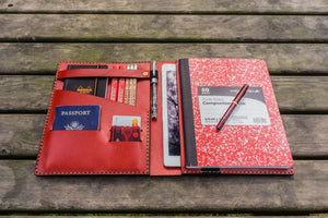 Leather Leuchtturm1917 B5 Notebook & iPad Air/Pro Cover - Red-Galen Leather
