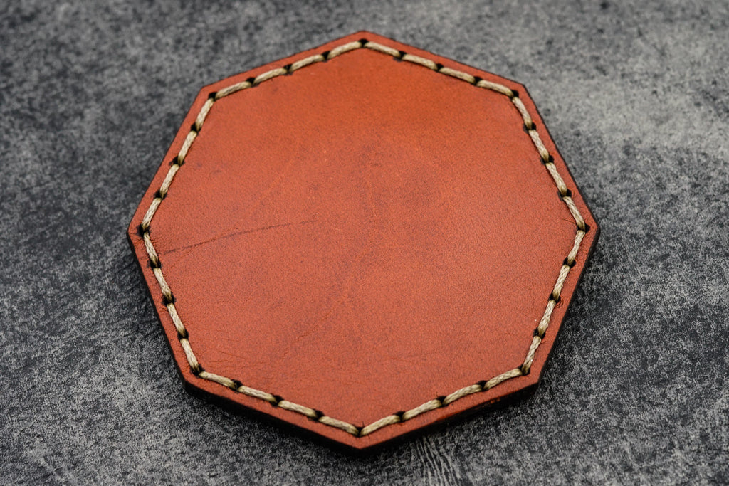 Orange Leather Magnetic Tidy Octagon - Galen Leather