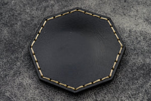Black Leather Magnetic Tidy Octagon - Galen Leather