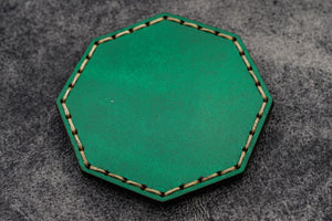 Green Leather Magnetic Tidy Octagon - Galen Leather