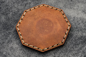 Crazy Horse Tan Leather Magnetic Tidy Octagon - Galen Leather