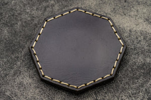 Navy Blue Leather Magnetic Tidy Octagon - Galen Leather