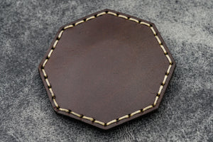 Brown Leather Magnetic Tidy Octagon - Galen Leather