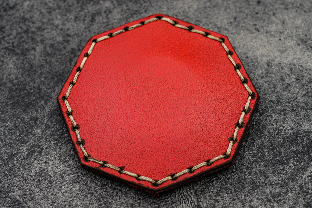Red Leather Magnetic Tidy Octagon - Galen Leather