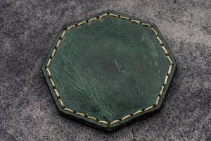 Crazy Horse Forest Green Leather Magnetic Tidy Octagon - Galen Leather
