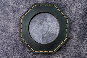 Dark Forest Green Leather Magnifying Glass Octagon - Galen Leather