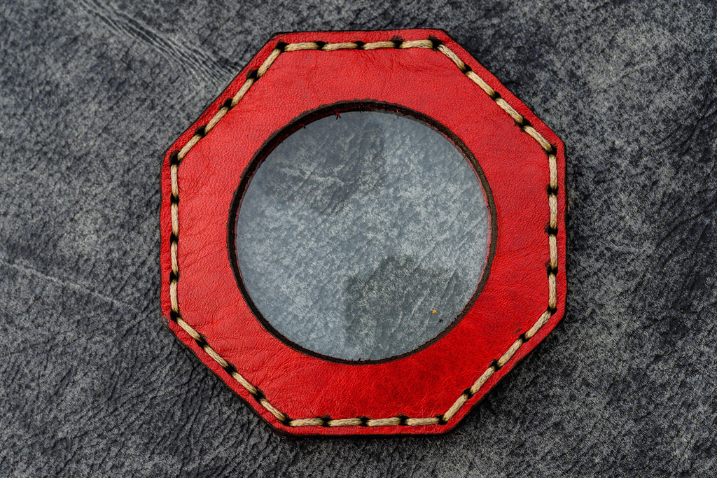 Red Leather Magnifying Glass Octagon - Galen Leather