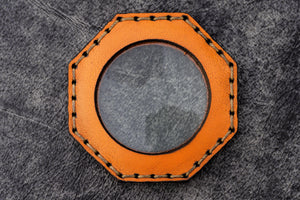 Orange Leather Magnifying Glass Octagon - Galen Leather
