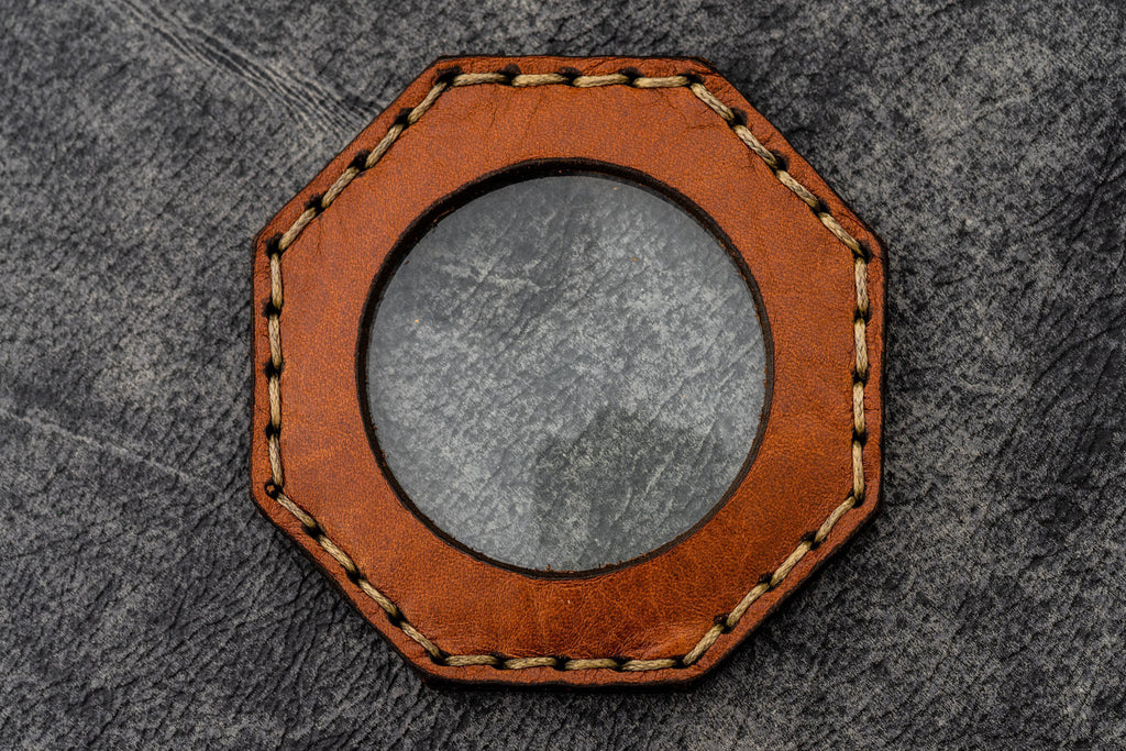 Crazy Horse Tan Leather Magnifying Glass Octagon - Galen Leather