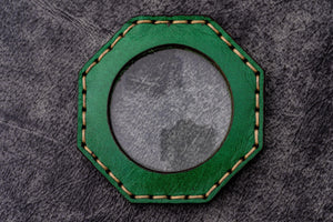 Green Leather Magnifying Glass Octagon - Galen Leather
