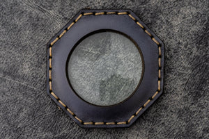 Navy Blue Leather Magnifying Glass Octagon - Galen Leather