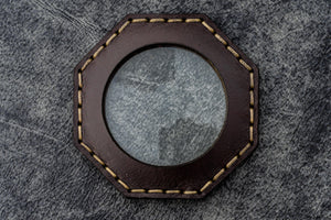 Dark Brown Leather Magnifying Glass Octagon - Galen Leather