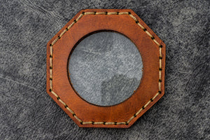 Brown Leather Magnifying Glass Octagon - Galen Leather