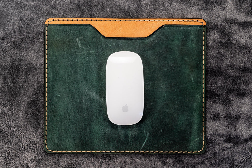 Leather Mouse Pad - Crazy Horse Forest Green