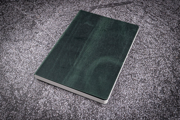 Leather Notebook - Tomoe River Paper - A6 - Crazy Horse Forest Green-Galen Leather