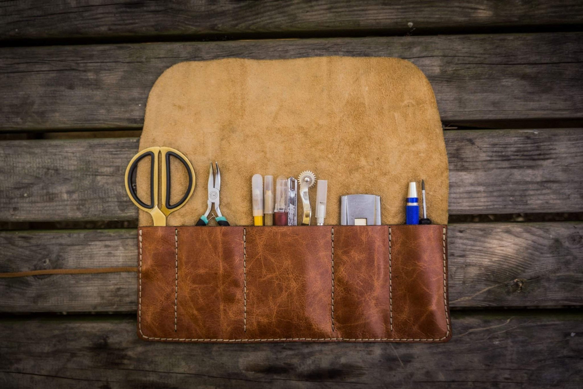 Leather Pen Roll - Rustic Brown-Galen Leather