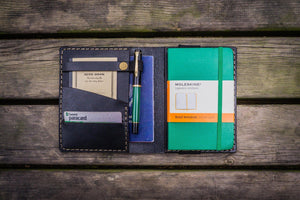 Leather Pocket Moleskine Journal Cover - Black - GalenLeather - 1