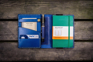 Leather Pocket Moleskine Journal Cover - Blue - GalenLeather - 1