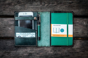 Leather Pocket Moleskine Journal Cover - Crazy Horse Forest Green