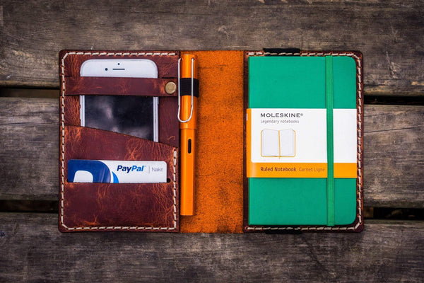 Leather Pocket Moleskine Journal Cover - Crazy Horse Orange-Galen Leather