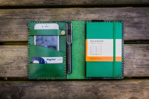 Leather Pocket Moleskine Journal Cover - Green-Galen Leather