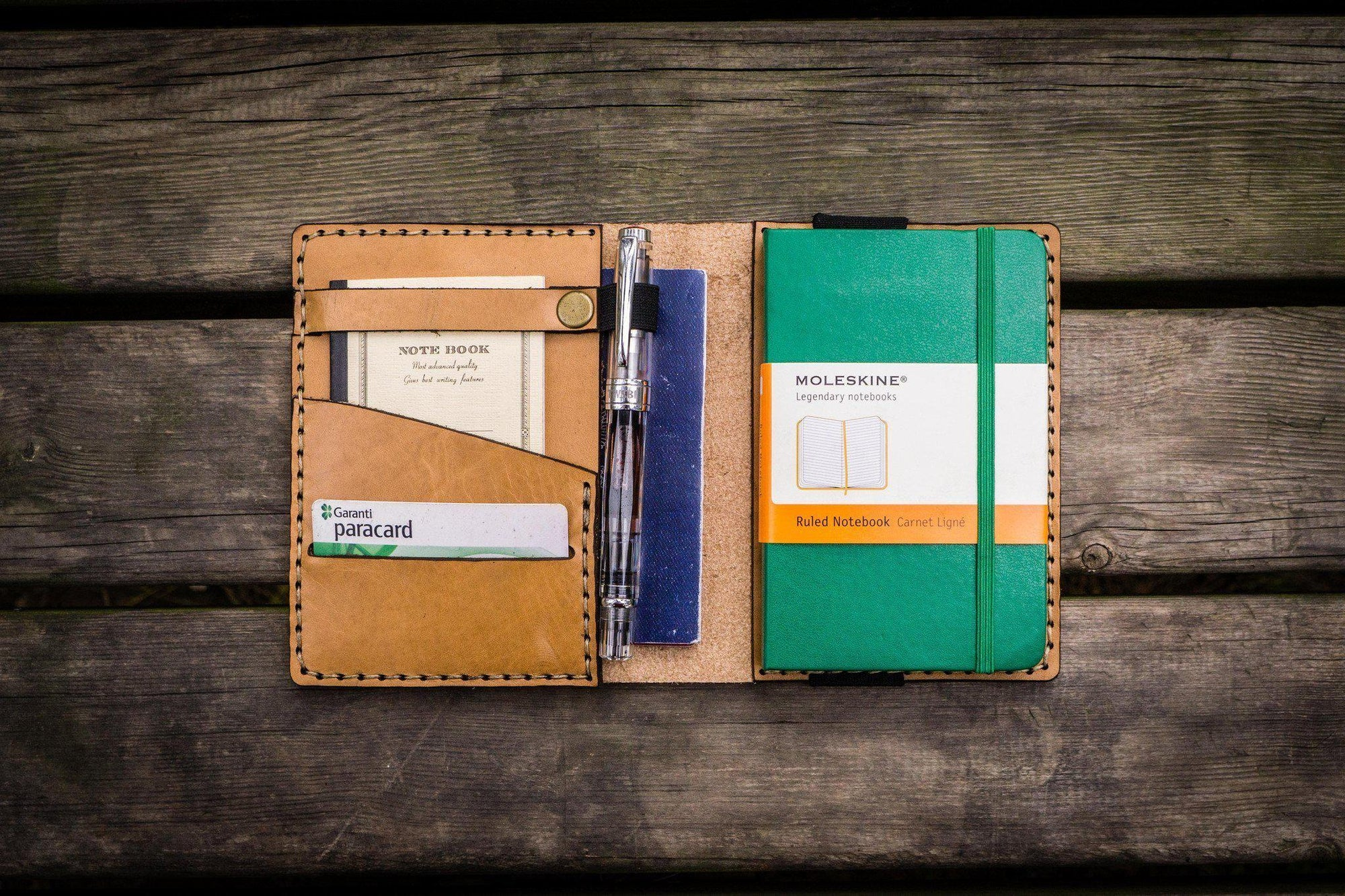 Leather Pocket Moleskine Journal Cover - Natural-Galen Leather