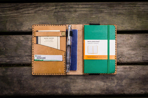 Leather Pocket Moleskine Journal Cover - Natural - GalenLeather - 1