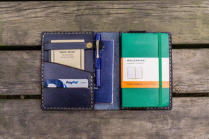 Leather Pocket Moleskine Journal Cover - Navy Blue-Galen Leather