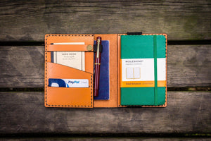 Leather Pocket Moleskine Journal Cover - Orange - GalenLeather - 1