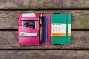 Leather Pocket Moleskine Journal Cover - Pink-Galen Leather