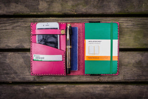 Leather Pocket Moleskine Journal Cover - Pink - GalenLeather - 1