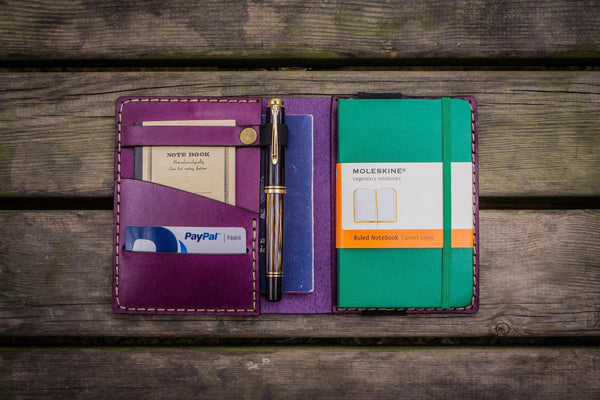 Leather Pocket Moleskine Journal Cover - Purple - GalenLeather - 1