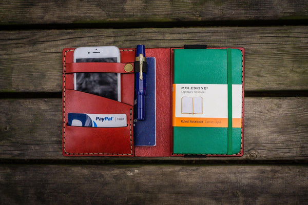 Leather Pocket Moleskine Journal Cover - Red - GalenLeather - 1