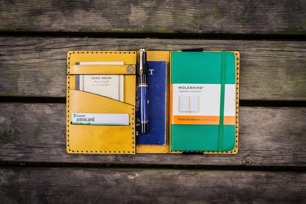 Leather Pocket Moleskine Journal Cover - Yellow-Galen Leather