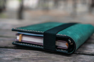 Leather Rhodia A5 Notebook & iPad Mini Cover - Crazy Horse Forest Green-Galen Leather