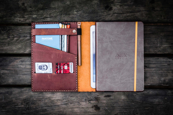 Leather Rhodia A5 Notebook & iPad Mini Cover - Crazy Horse Tan-Galen Leather