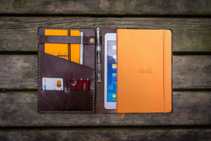 Leather Rhodia A5 Notebook & iPad Mini Cover - Dark Brown-Galen Leather