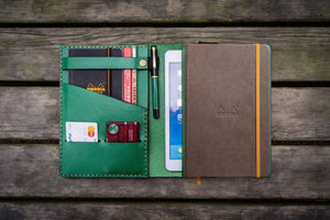 Leather Rhodia A5 Notebook & iPad Mini Cover - Green-Galen Leather