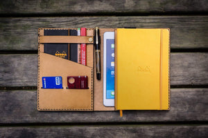 Leather Rhodia A5 Notebook & iPad Mini Cover - Natural-Galen Leather