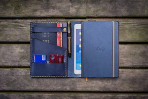 Leather Rhodia A5 Notebook & iPad Mini Cover - Navy Blue-Galen Leather