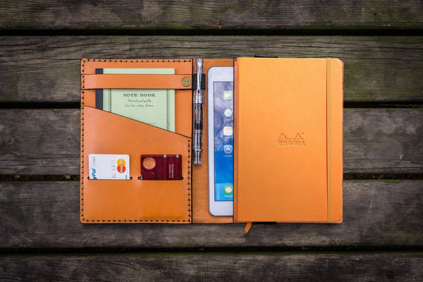 Leather Rhodia A5 Notebook & iPad Mini Cover - Orange-Galen Leather