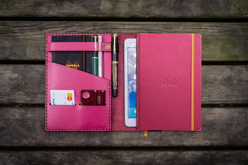 Leather Rhodia A5 Notebook & iPad Mini Cover - Pink-Galen Leather
