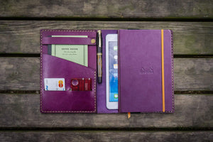 Leather Rhodia A5 Notebook & iPad Mini Cover - Purple-Galen Leather