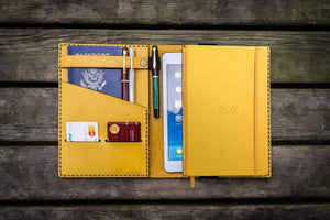 Leather Rhodia A5 Notebook & iPad Mini Cover - Yellow-Galen Leather