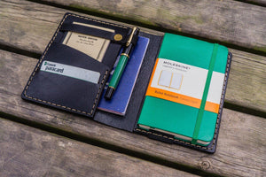 Leather Rhodia A6 Notebook Cover - Black-Galen Leather