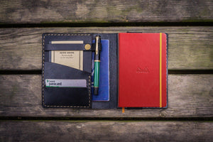 Leather Rhodia A6 Notebook Cover - Black - GalenLeather - 1