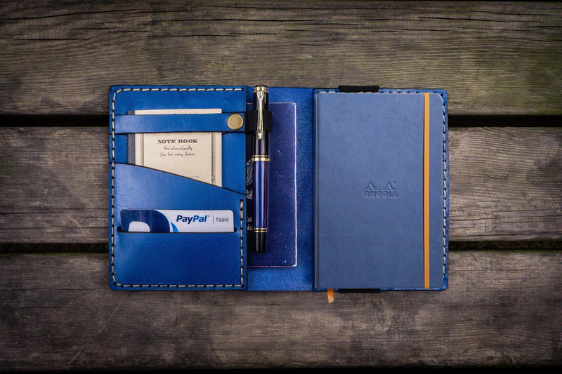 Leather Rhodia A6 Notebook Cover - Blue-Galen Leather