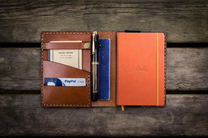 Leather Rhodia A6 Notebook Cover - Brown-Galen Leather