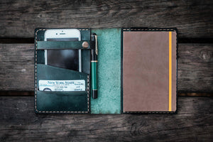 Leather Rhodia A6 Notebook Cover - Crazy Horse Forest Green-Galen Leather